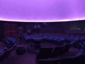 Inside planetarium showing Minolta MS-8 and Media globe with new ADA accessible doors visible in the back.