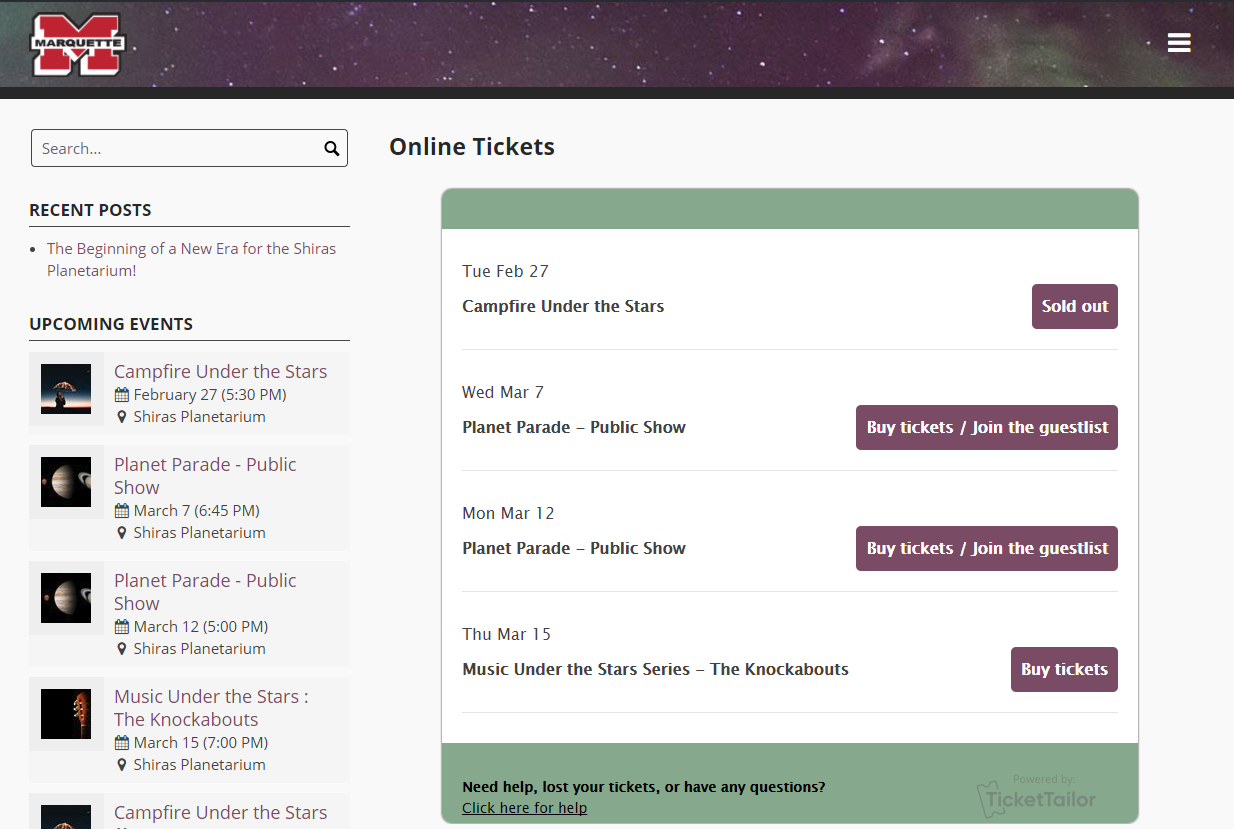Screenshot of the online ticketing website.